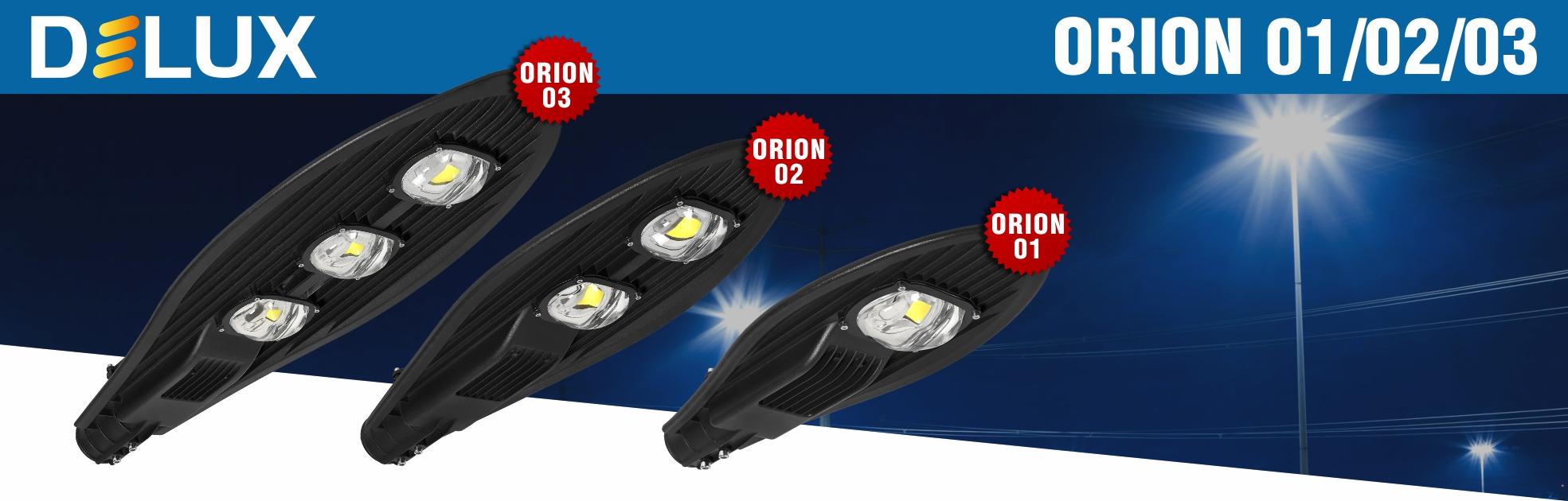 Нові вуличні LED світильники DELUX Orion 01,02,03