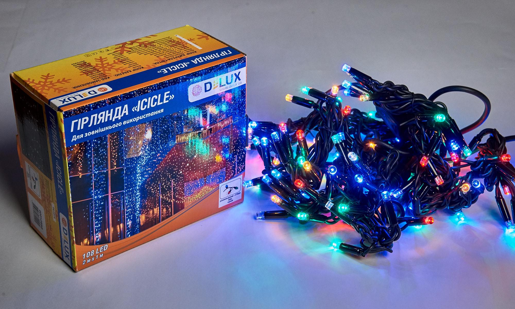 Гірлянда зовнішня DELUX ICICLE 108 LED бахрома 2x1m 27 flash мульти/чорний IP44 EN