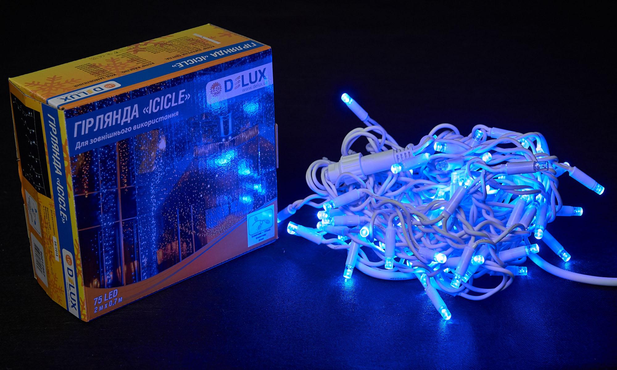Гирлянда внешняя DELUX ICICLE 75 LED бахрома 2x1m 18 flash синий/белый IP44 EN